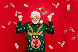 Portrait of funny funky crazy grey white hair bearded old man win lottery got x-mas income money fly fall screaming yeah wear style antler decor design ornament isolated over red color background