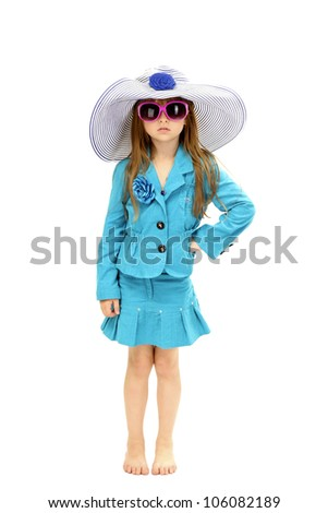 Portrait of funny little girl with sunglasses and hat isolated on white