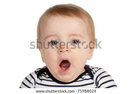 portrait of funny yawning boy isolated on white