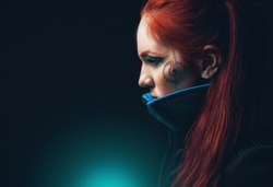 Portrait of futuristic women and neon glow cosplay style