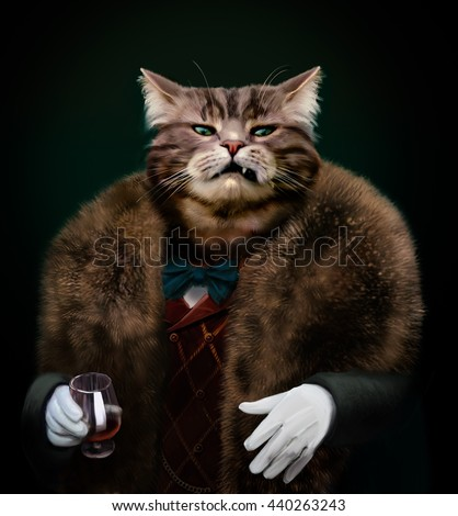 Portrait of Gangster boss Pet in fur coat with bow and white gloves with glass. Nasty Godfather-like character with a cold mean stare looking at the camera with a sneer. Contemptuous glance concept.