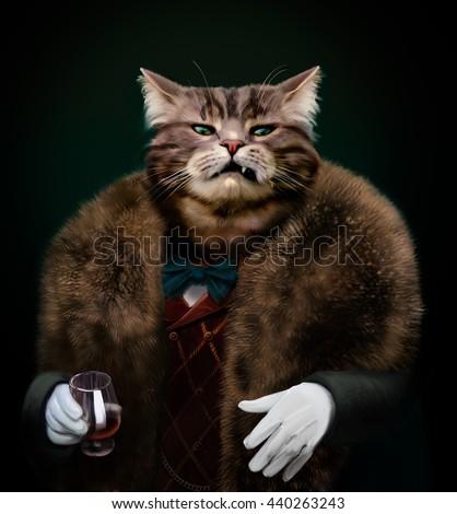 portrait of gangster boss pet...