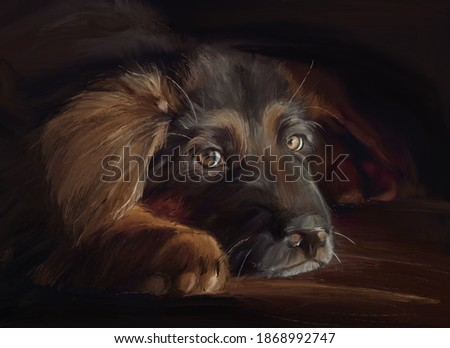 Portrait of german shepherd puppy in oil painting style Foto stock ©