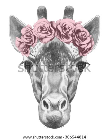 portrait of giraffe with floral ...