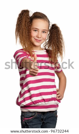 Portrait of girl giving you thumb up isolated on white background