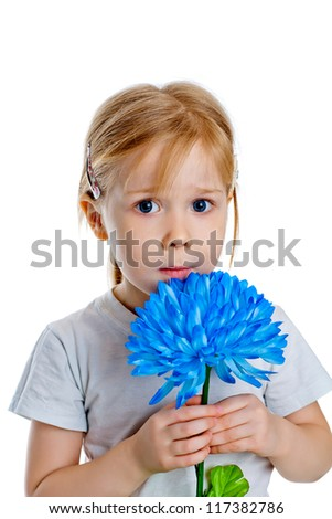 portrait of girl holding a big blue chrysanthemum isolated on white
