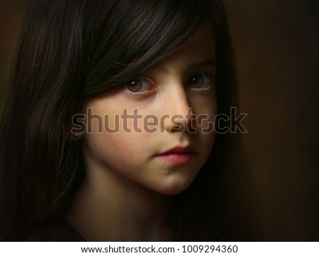 Portrait of girl, imitation of antique painting.