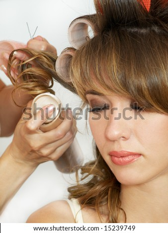 portrait of girl making evening woman coiffure