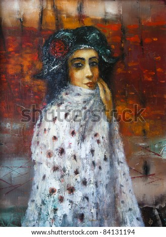 Portrait of girl , original oil painting on canvas