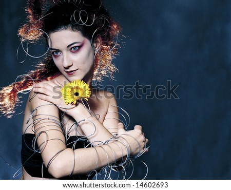 portrait of girl punk hairstyle with unusual detail and accessories