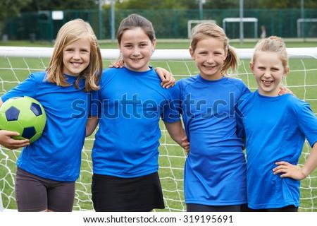 Portrait Of Girl\'s Soccer Team