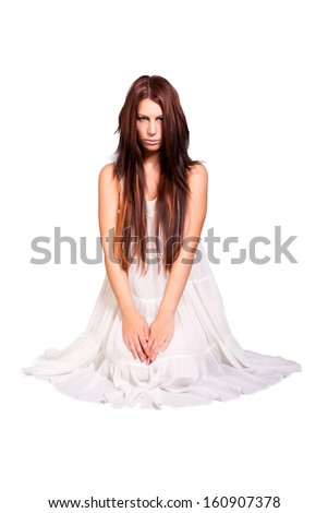 portrait of girl wearing white dress. isolated on white background