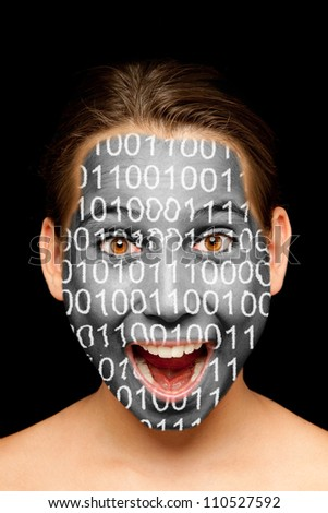 portrait of girl with binary code painted on her face
