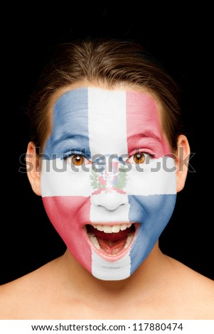 portrait of girl with Dominican Republic flag painted on her face