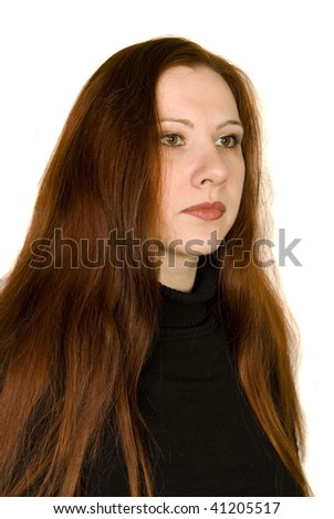 portrait of girl with long red hair