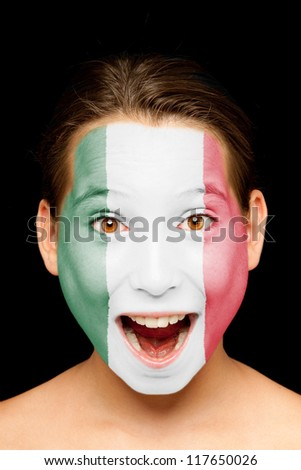 portrait of girl with mexican flag painted on her face