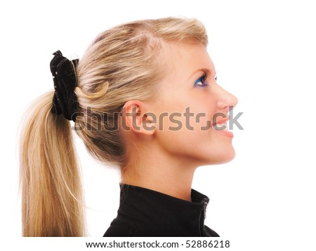 girls images for profile pic. stock photo : Portrait of girl with ponytail in profile, on white background