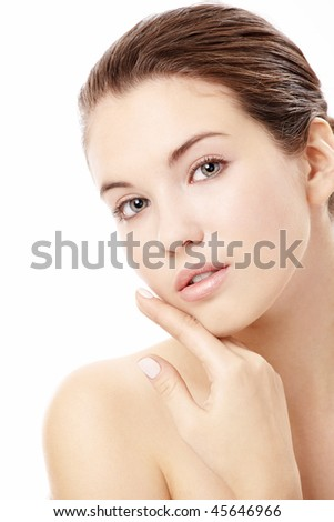 Portrait of girl with the ideal skin, isolated on a white background