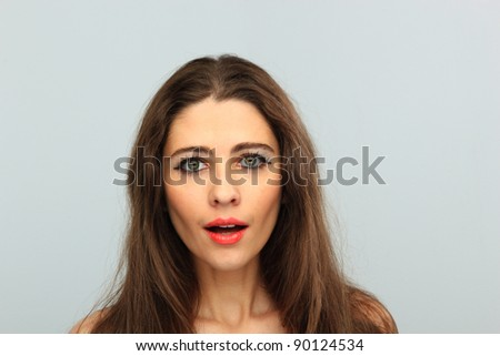 Portrait of glamour beautiful young woman with long hair #90124534