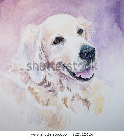 Portrait of golden retriever.Picture I have painted with watercolors.