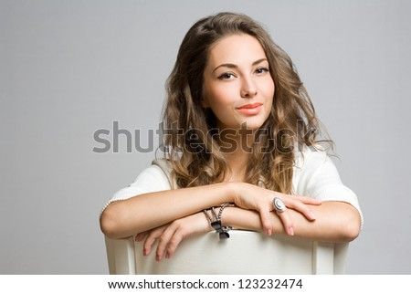 Portrait of gorgeous thoughtful young brunette woman.