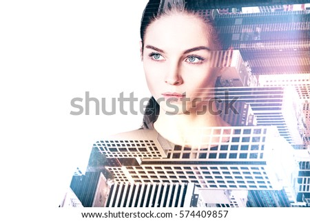 Portrait of gorgeous thoughtful young female on creative city background. Double exposure