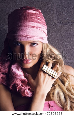 Portrait of gorgeous woman with precious gem