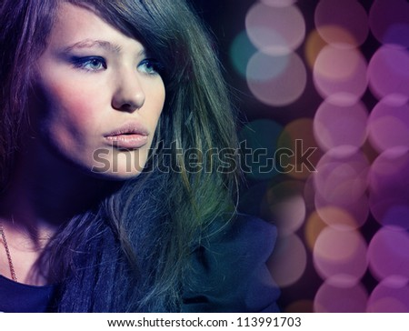 Portrait of gorgeous young woman close up. - stock photo