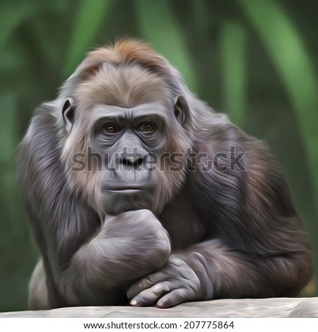 Stock Photo Portrait of gorilla female on green forest background. Human like expression of the great ape, the biggest primate of the world. Amazing illustration in oil painting style. Beauty of the wildlife.