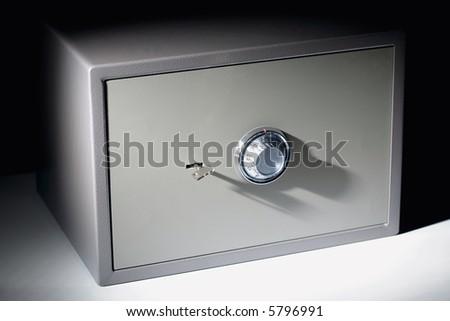 Portrait of  grey metal simple safe
