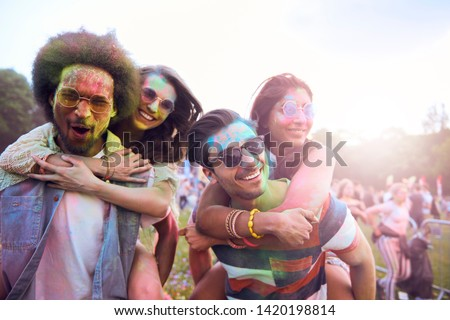 Portrait of group of friends at the festival   #1420198814