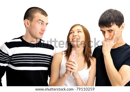 Portrait of group of people - one girl with positive pregnancy test and two men thinking about paternity