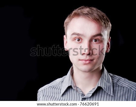 Portrait of guy dressed in shirt. Copy space