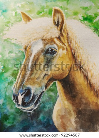 Portrait of haflinger horse looking in front on green background.Picture I have created myself with watercolors.