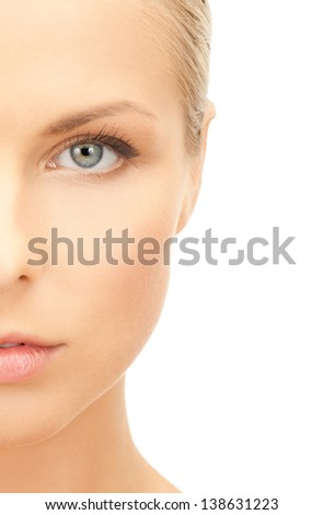 portrait of half face of beautiful woman