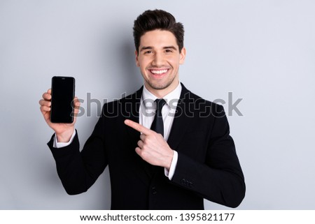 Portrait of handsome excited feel satisfied content agent want share ads adverts new product give feedback present option decision wear classic stylish outfit isolated on silver background