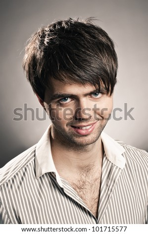 portrait of handsome guy on white background