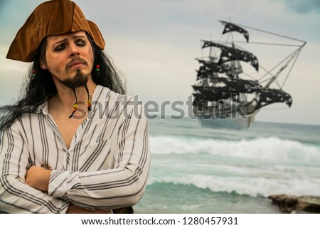 Portrait of handsome male pirate