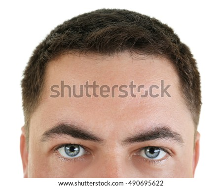 Portrait of handsome man on white background #490695622