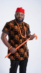 Portrait of handsome Nigerian man dressed in traditional Igbo attire