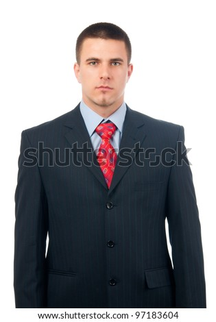 Portrait of handsome serious looking businessman isolated on white.