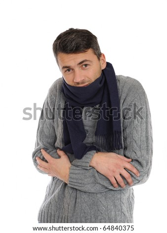 Portrait of handsome sick man in scarf. isolated on white background