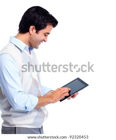 Portrait of handsome smiling man with tablet computer. Isolated over white background.