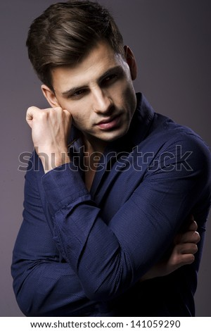 Portrait of handsome stylish man in elegant shirt