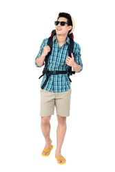 Portrait of handsome young Asian man tourist backpacker isolated on white background studio shot, beach traveling concept