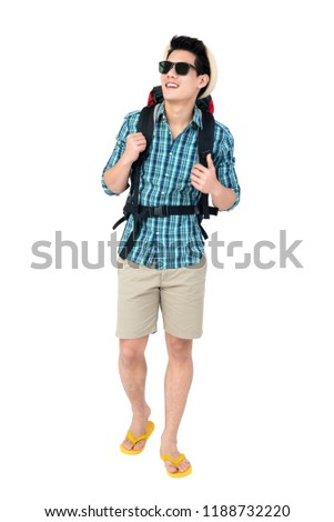 Portrait of handsome young Asian man tourist backpacker isolated on white background studio shot, beach traveling concept #1188732220