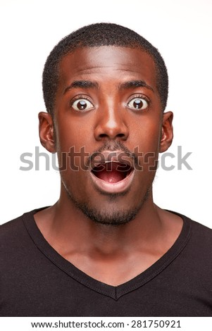 portrait of handsome young black african smiling man,  isolated on white background. human emotions - surprise. face close up