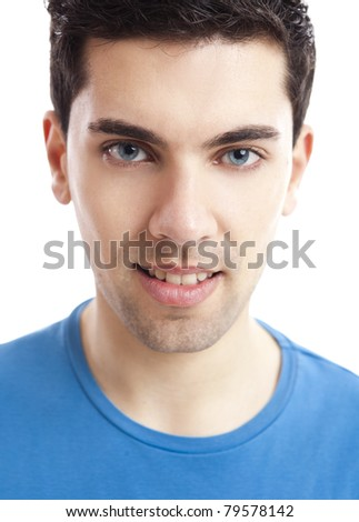 Portrait of handsome young man smiling, isolated on white background