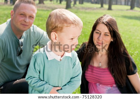 Portrait of happiness family outdoors.