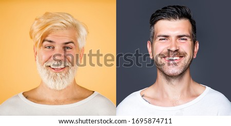 Portrait of happy bearded man set. Long beard. Hair and beard coloring. Barbershop design. Set of mans portrait. Smiling bearded male model. Perfect color beard